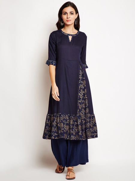Studio Rasa Cotton Viscose Block Printed Ruffle Hem Kurta Set