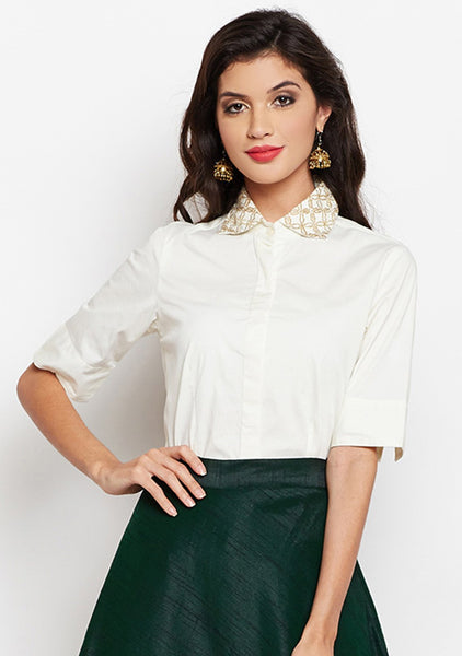 Studiorasa Cotton Silk Lycra Embroidered Shirt
