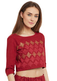 Cotton Poplin Block Printed Crop Top