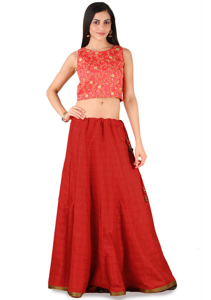 Semi Dupion Embroidered Crop Top