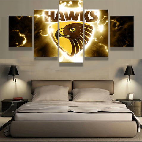 Hawthorn Hawks Football Club, 5 Panel Framed Canvas Wall Art - Canvart