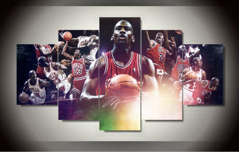 Michael Jordan, 5 Panel Framed Canvas Wall Art - Canvart