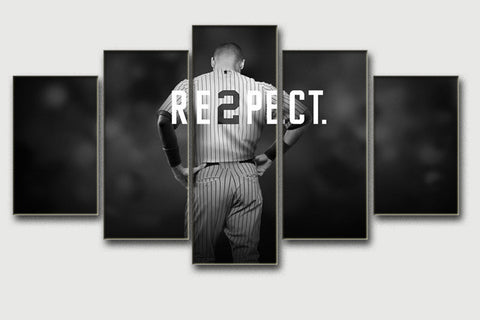 Derek Jeter RESPECT, 5 Panel Framed Canvas Wall Art - Canvart