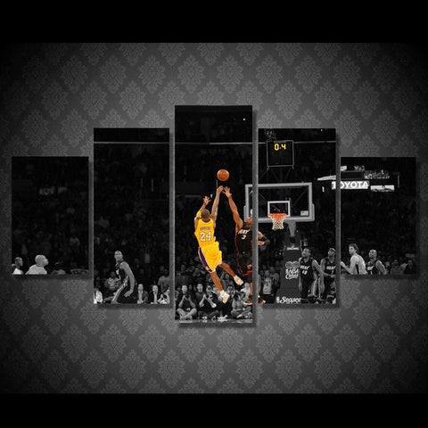 Kobe Bryant, 5 Panel Framed Canvas Wall Art - Canvart