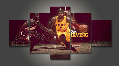Kyrie Irving, 5 Panel Framed Canvas Wall Art - Canvart