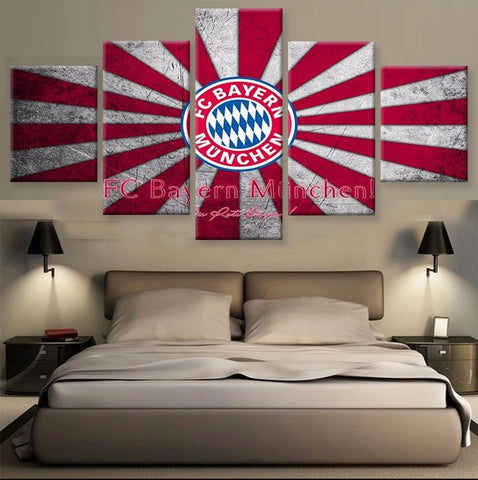 FC Bayern Munich, 5 Panel Framed Canvas Wall Art - Canvart
