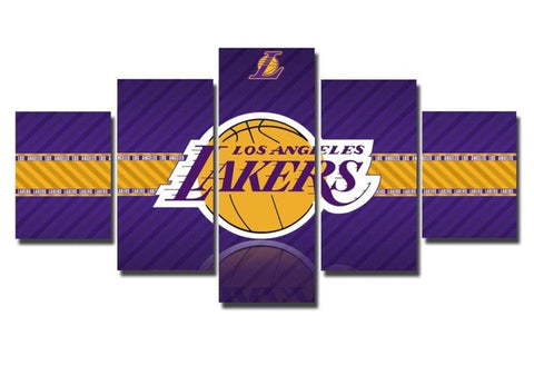 LA Lakers, 5 Panel Framed Canvas Wall Art - Canvart