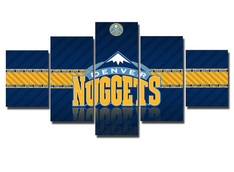 Denver Nuggets, 5 Panel Framed Canvas Art - Canvart