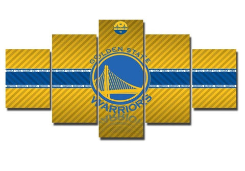 Golden State Warriors, 5 Panel Framed Canvas Art - Canvart