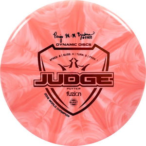 Dynamic Discs Limited Edition Paige Bjerkaas Signature Fuzion Burst Judge Putter Golf Disc