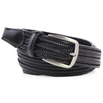 Braided Leather Elasticated Belt Black