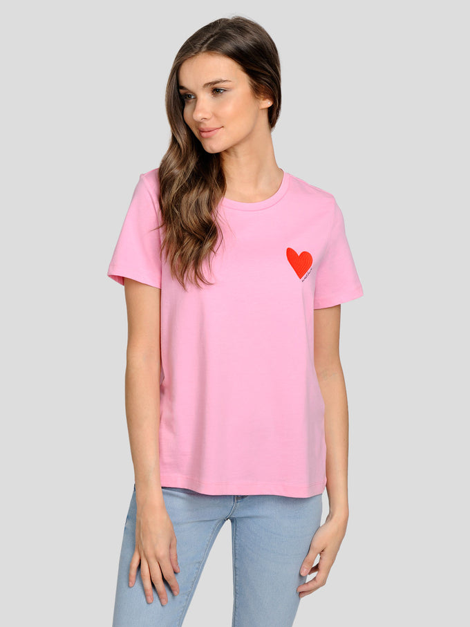 EMBROIDERED T-SHIRT Prism Pink