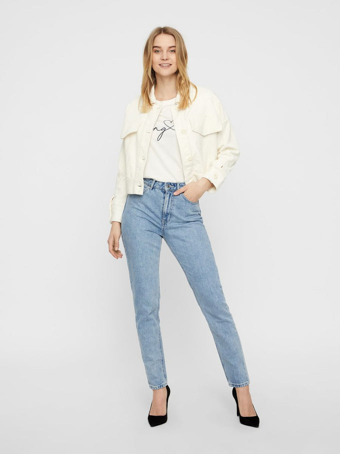 VMJOANA HIGH WAIST MOM JEANS Light Blue Denim