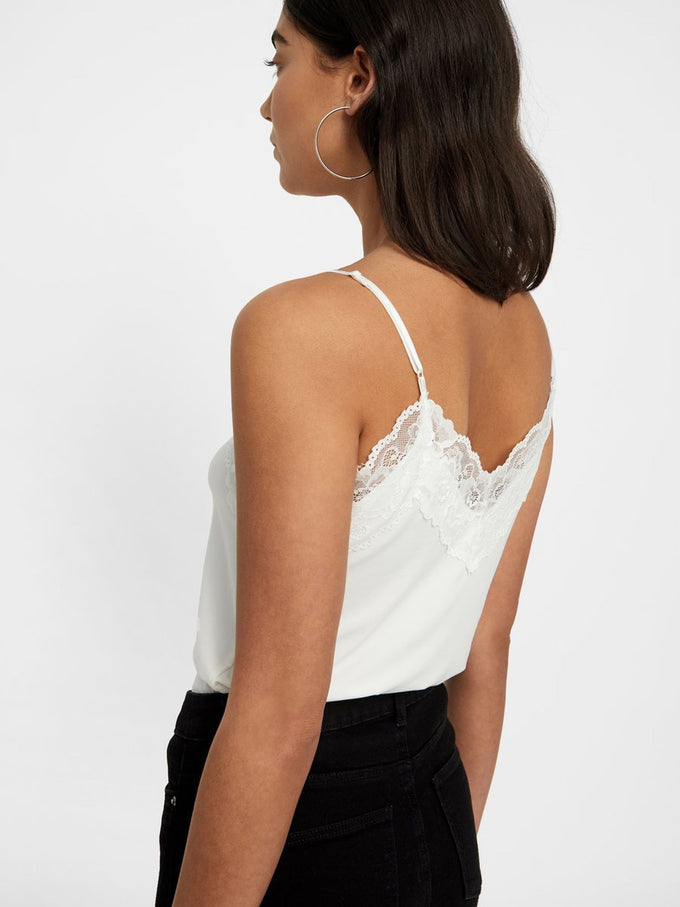 JERSEY CAMI WITH LACE Snow White