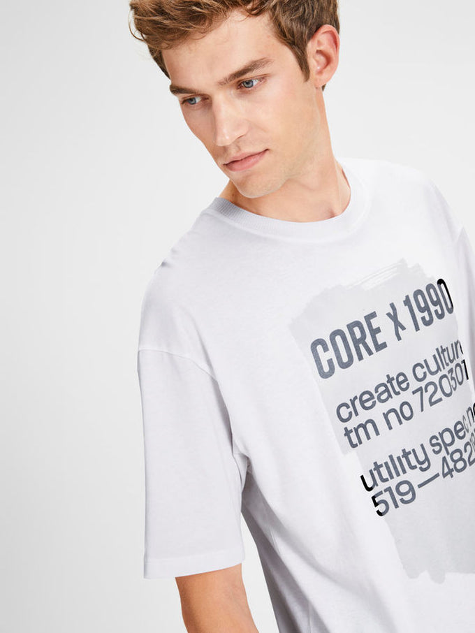 OVERSIZE T-SHIRT WITH PRINTED CORE DETAILS White