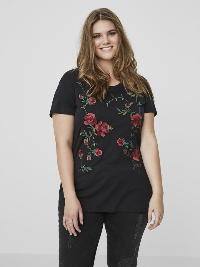 LONG EMBROIDERED T-SHIRT Black Beauty