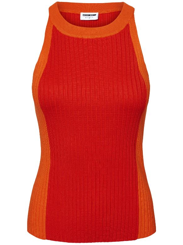 CROPPED RIBBED TOP Flame Scarlet
