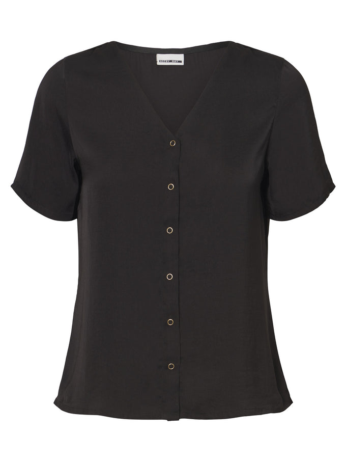 SILKY BLOUSE WITH A BUTTON CLOSURE Black