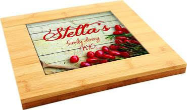 9x9 Bamboo Trivet with Customized Tile