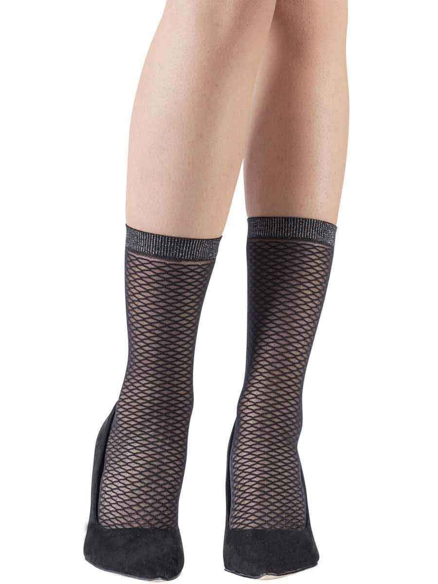 Mock Fishnet Black Socks