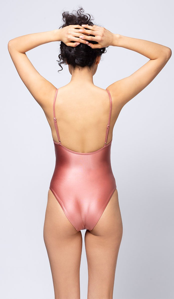 Strappy Millennial Pink One-piece Swimsuit