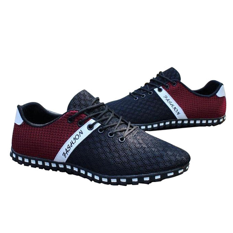 Air Mesh Fabric Men Casual Breathable Lace up Loafers, Men Shoes, Stylenol- Stylenol