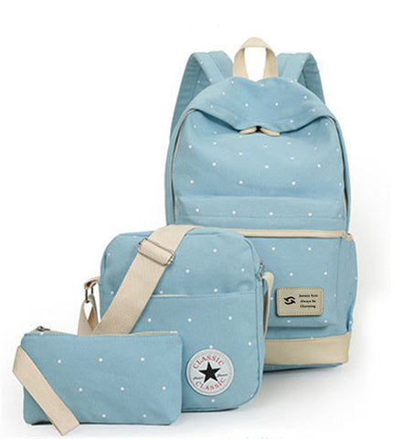 3 Pcs/Set Teenager Girl Student Dot Canvas Backpack, Backpack, Stylenol- Stylenol