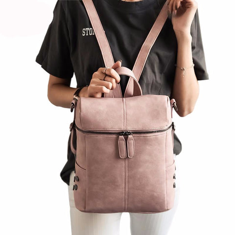 Fashion Faux Leather Backpack, Backpack, Stylenol- Stylenol