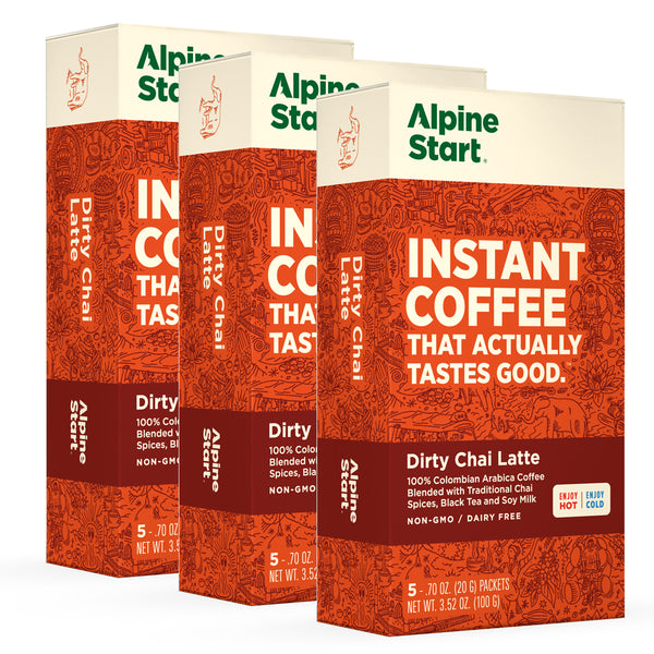Alpine Start Dirty Chai Latte. Instant Coffee blended with traditional Chai spices, black tea and soy creamer