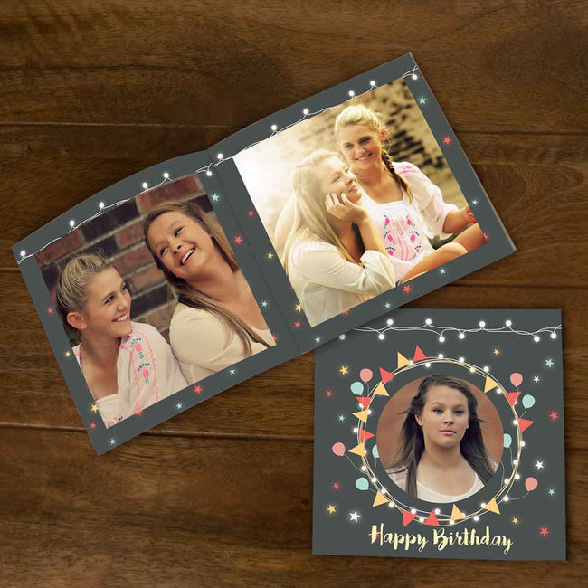 Softcover Photo Books-Birthday Lights Grey Flip Photo Book-6 inches x 6 inches-20 Pages