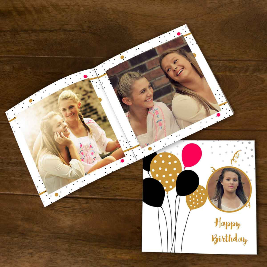 Softcover Photo Books-Birthday Red Black Balloons Flip Photo Book-6 inches x 6 inches-20 Pages