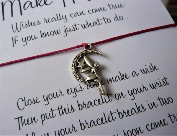 Wish Bracelet - Moon Fairy Charm. Wish upon a star.