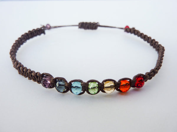 HEMP Pride or Chakra Bracelet - Choose Your Rainbow Bracelet. Hemp Macrame. Adjustable. Choice of Colours