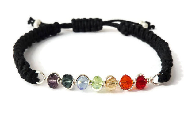 Rainbow Bracelet - Choose Pride or Chakra Rainbow. Macrame Bracelet. Unisex. Choice of Colours