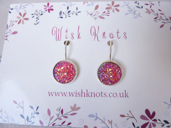 Stardust Druzy Earrings - Pink Sparkle Glitter Silver Plated Leverback Earrings.
