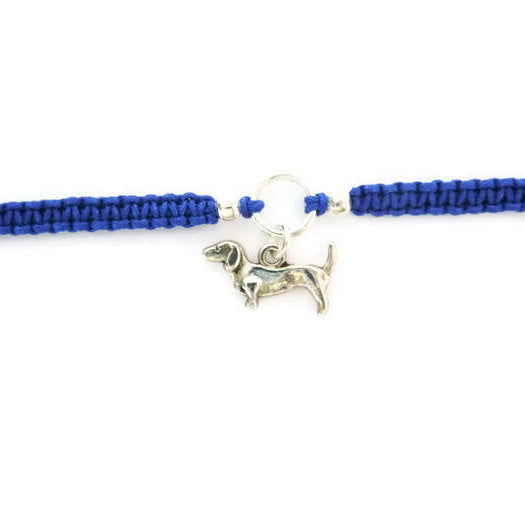 Dog Bracelet - Sausage Dog Macrame Charm Bracelet. Dachshund Friendship Bracelet. Stacking Bracelet. Choice of Colours.