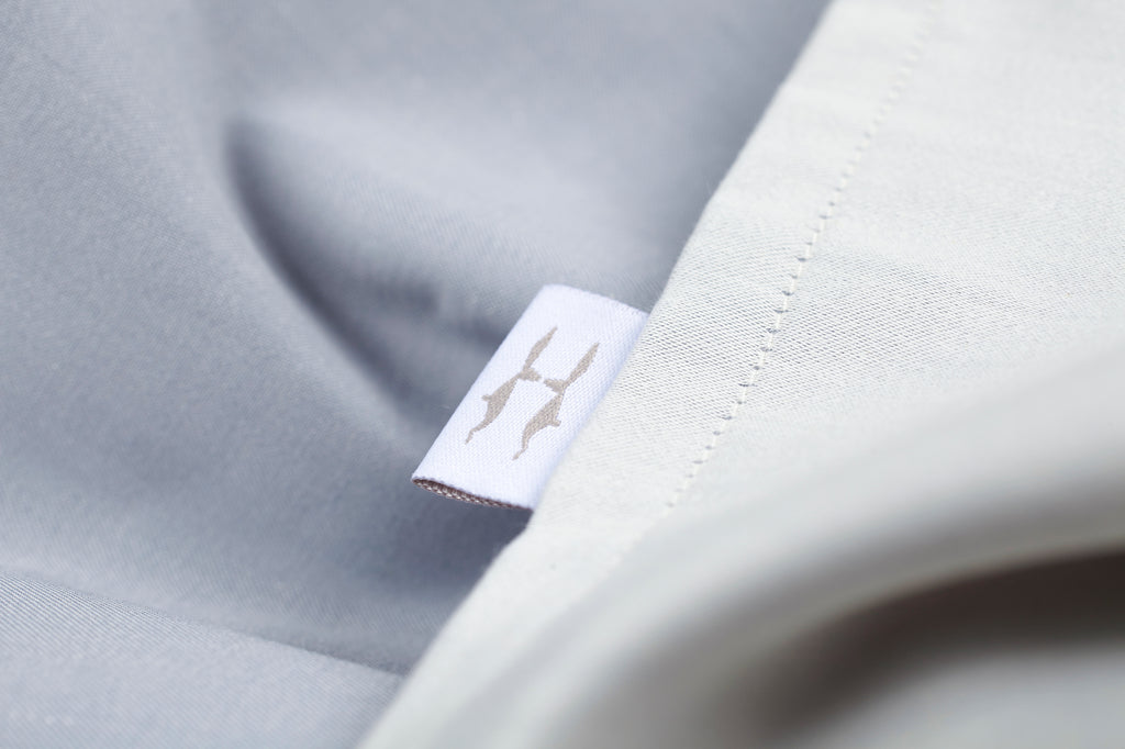 Plain Jacquard Reversible Blue-Grey Fitted Sheet