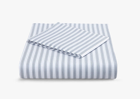 Ticking Stripe Blue-Grey Cotbed Set
