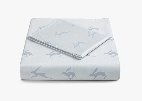 Running Hare Blue-Grey Reversible Cotbed Set