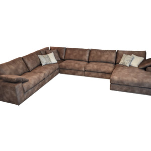 sofas with corner element, brown fabric, cozy home furniture