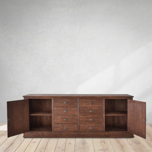 brown sideboard in wood, cozy home