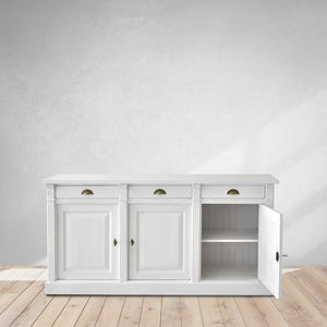 classic white sideboard, with drawers, Dubai cozy home
