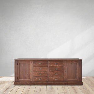 classic large sideboard, kitchen sideboard with drawers in brown