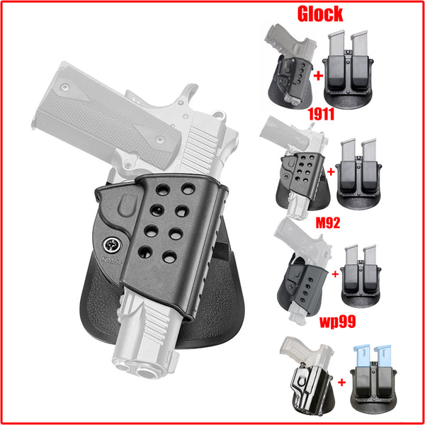 Quick Tactical Right Hand Pistol Holster & Magazine Pouch for 1911 / Glock / M92 / WP99