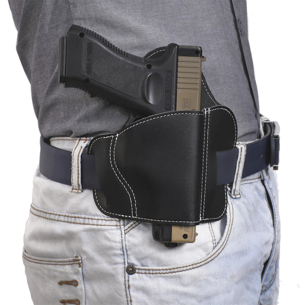 3 Slot OWB Leather Gun Belt Holster - Fits S&W Shield/Glock/Springfield XD/1911 And All Other Same Size Pistols