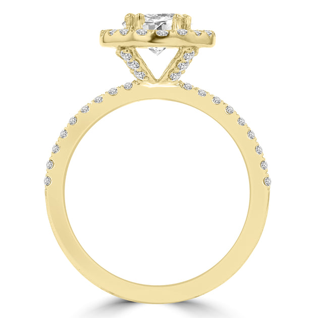 14k Yellow Gold 1 3/5ct. TDW RB Diamond Halo Engagement Ring