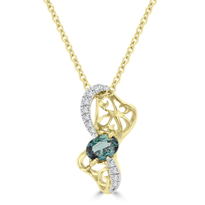 14k Yellow Gold 1/5ct TDW Oval-cut Alexandrite and 1/5ct TDW Diamond Pendant (SI1-VS, G-H, )