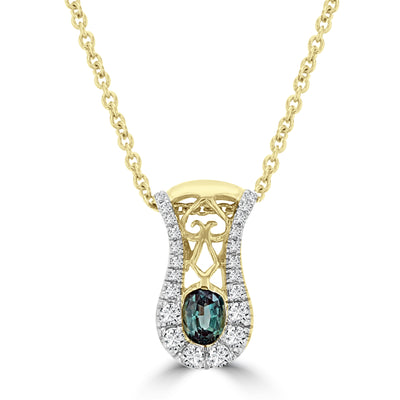 14K Yellow Gold 1/3ct TGW Oval-cut Alexandrite and 1/10ct TDW Diamond Pendant (SI1-SI2, G-H) by La Vita Vital