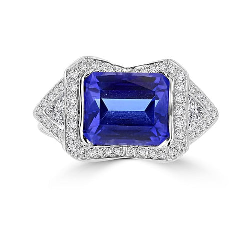 18K White Gold Tanzanite 4.10cts and Diamond 0.52ct TDW (SI1-VS, G-H) Ring