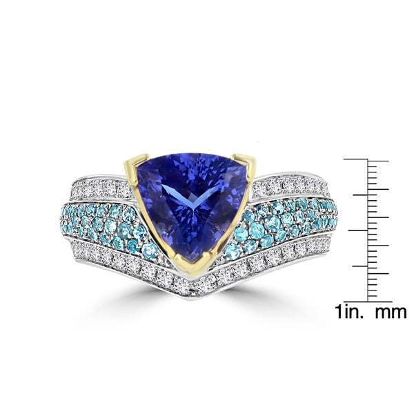 18K White/Yellow Gold Trillion Tanzanite 2.76cts, Paraiba Tourmaline 0.50ct and Diamond 0.35ct TDW (SI1-VS, G-H) Ring